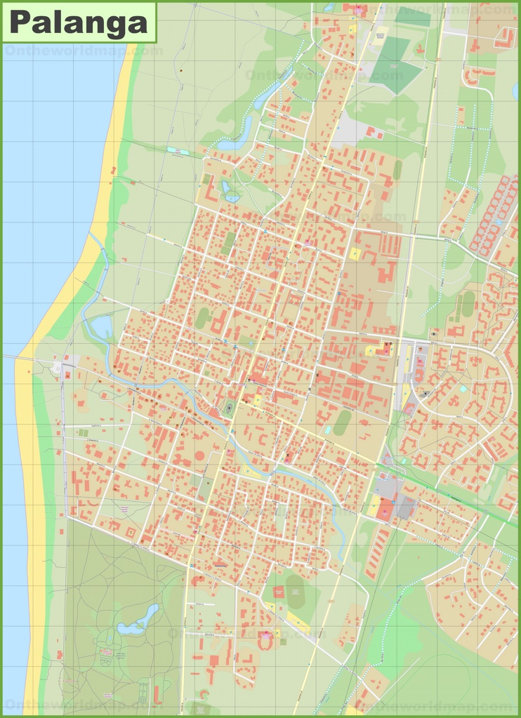 Large detailed map of Palanga