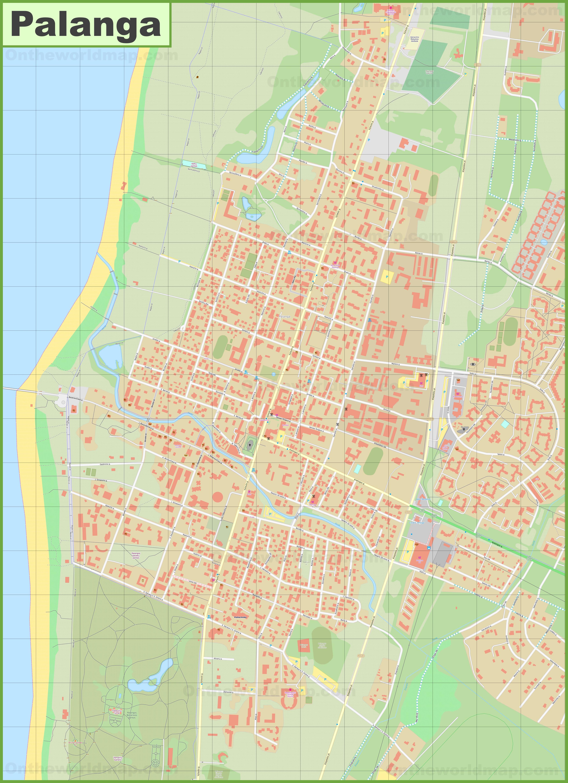 Large detailed map of Palanga