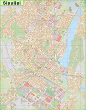 Large detailed map of Šiauliai