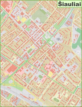 Šiauliai city center map