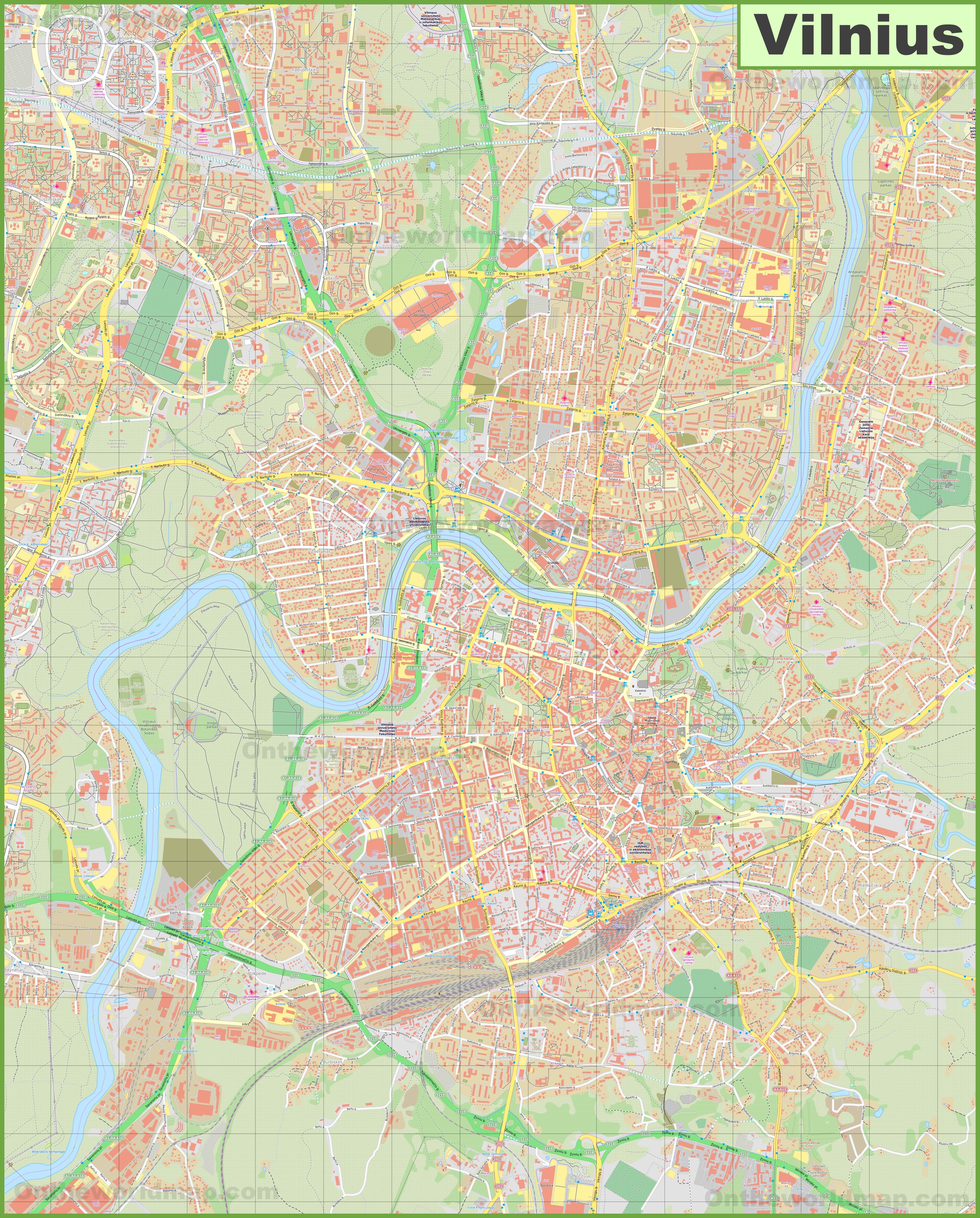 Large detailed map of Vilnius