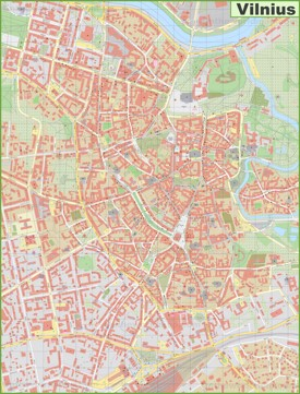 Vilnius city center map