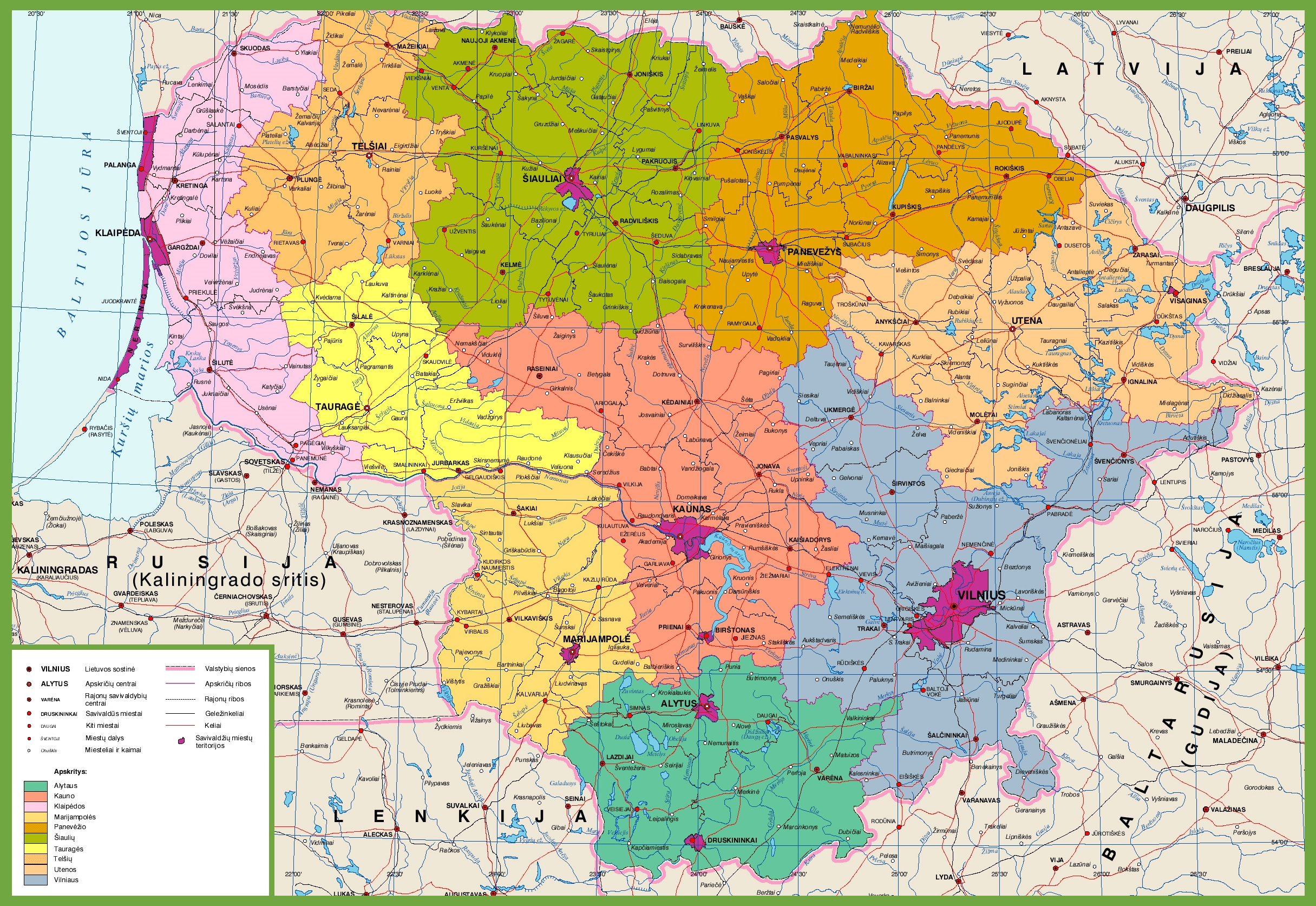 large detailed map of lithuania -