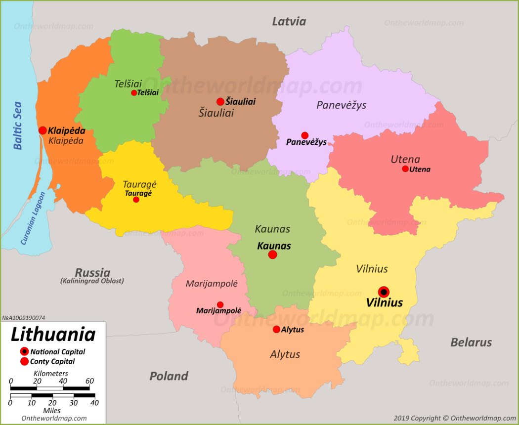 Image of: Political Map Of Lithuania