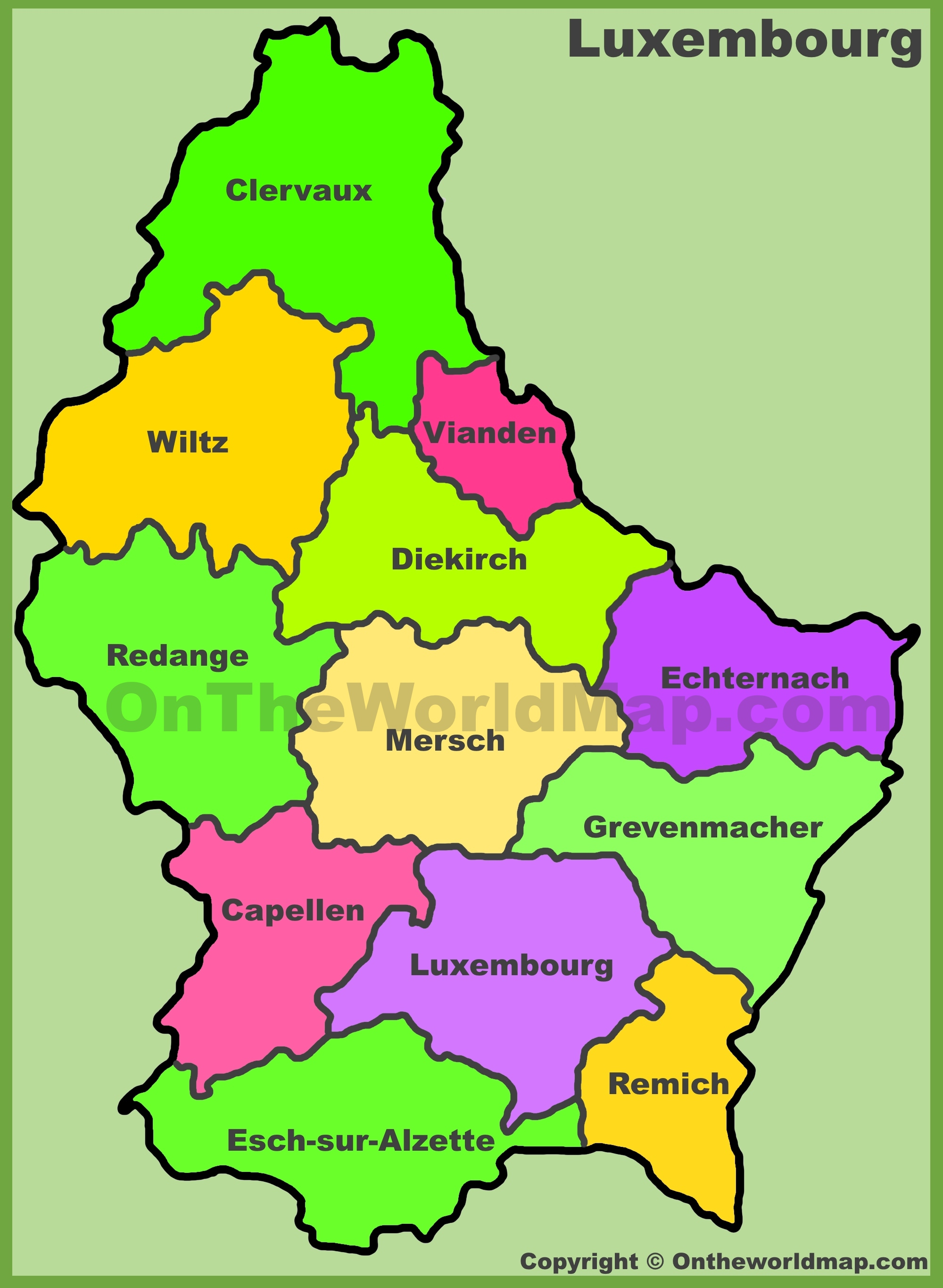 Luxembourg cantons map