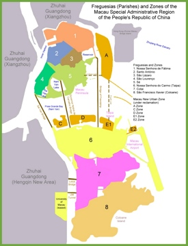 Administrative map of Macau