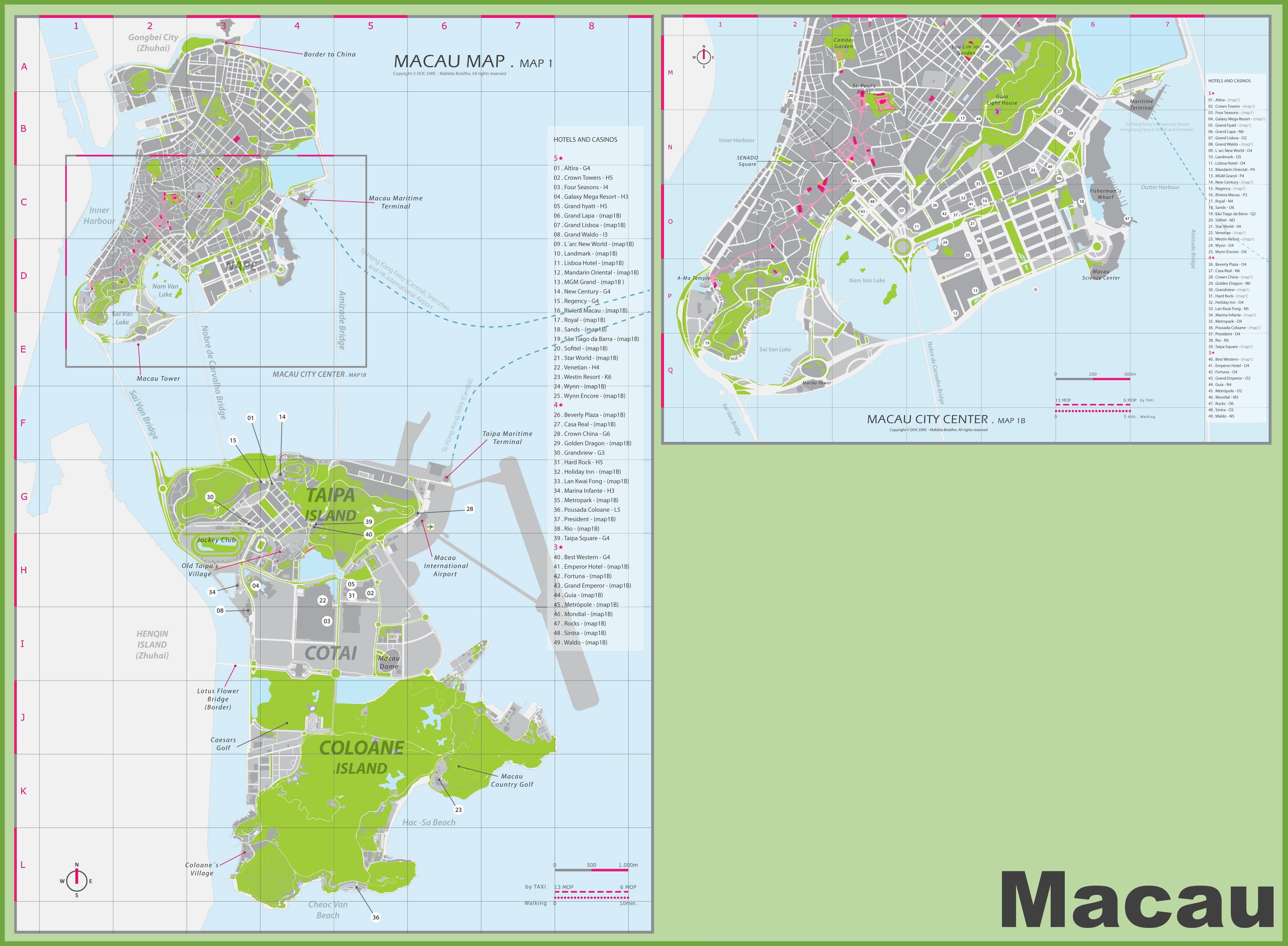 Macau Hotel And Casino Map - Macau map