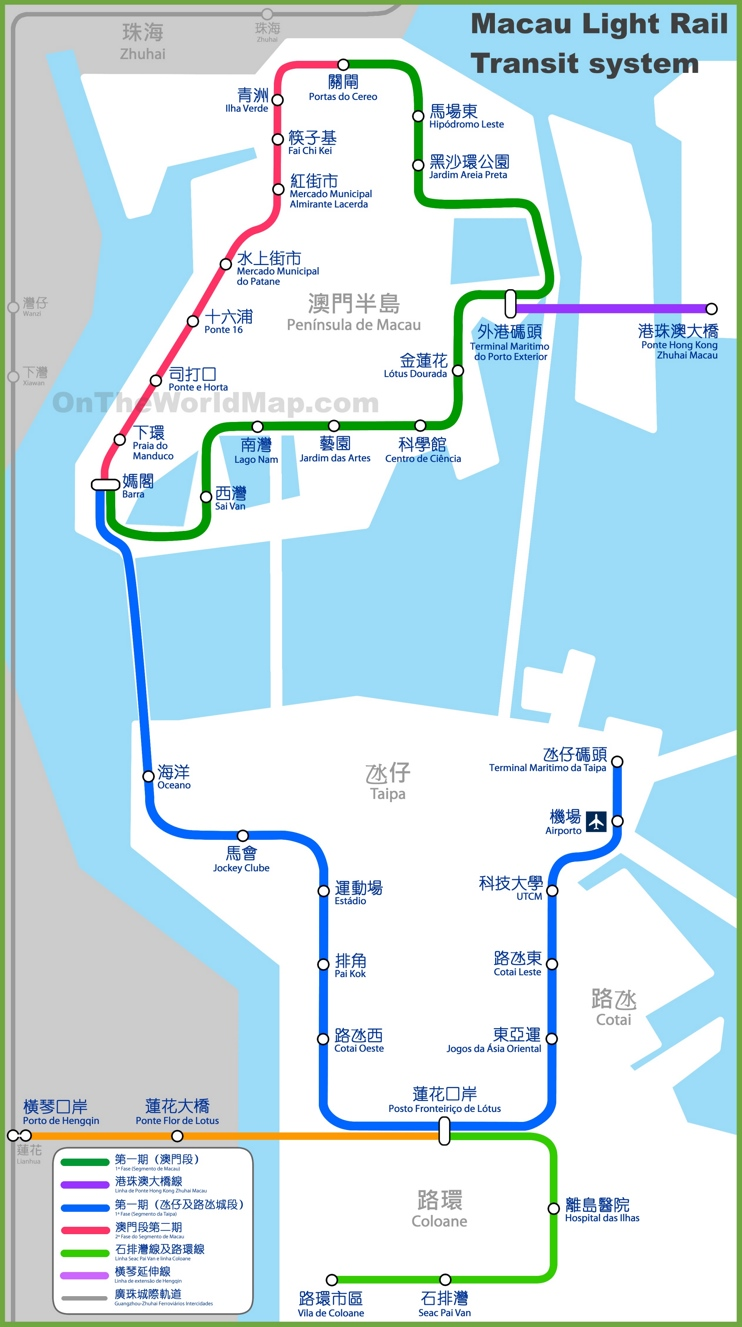 Macau light rail transit system map