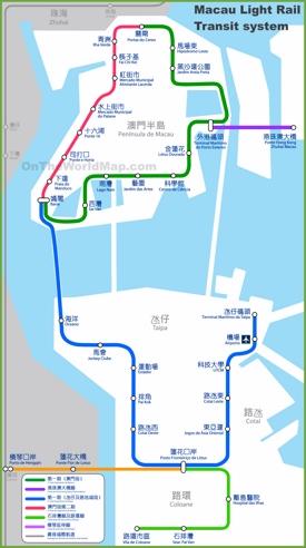 Macau light rail transit system map