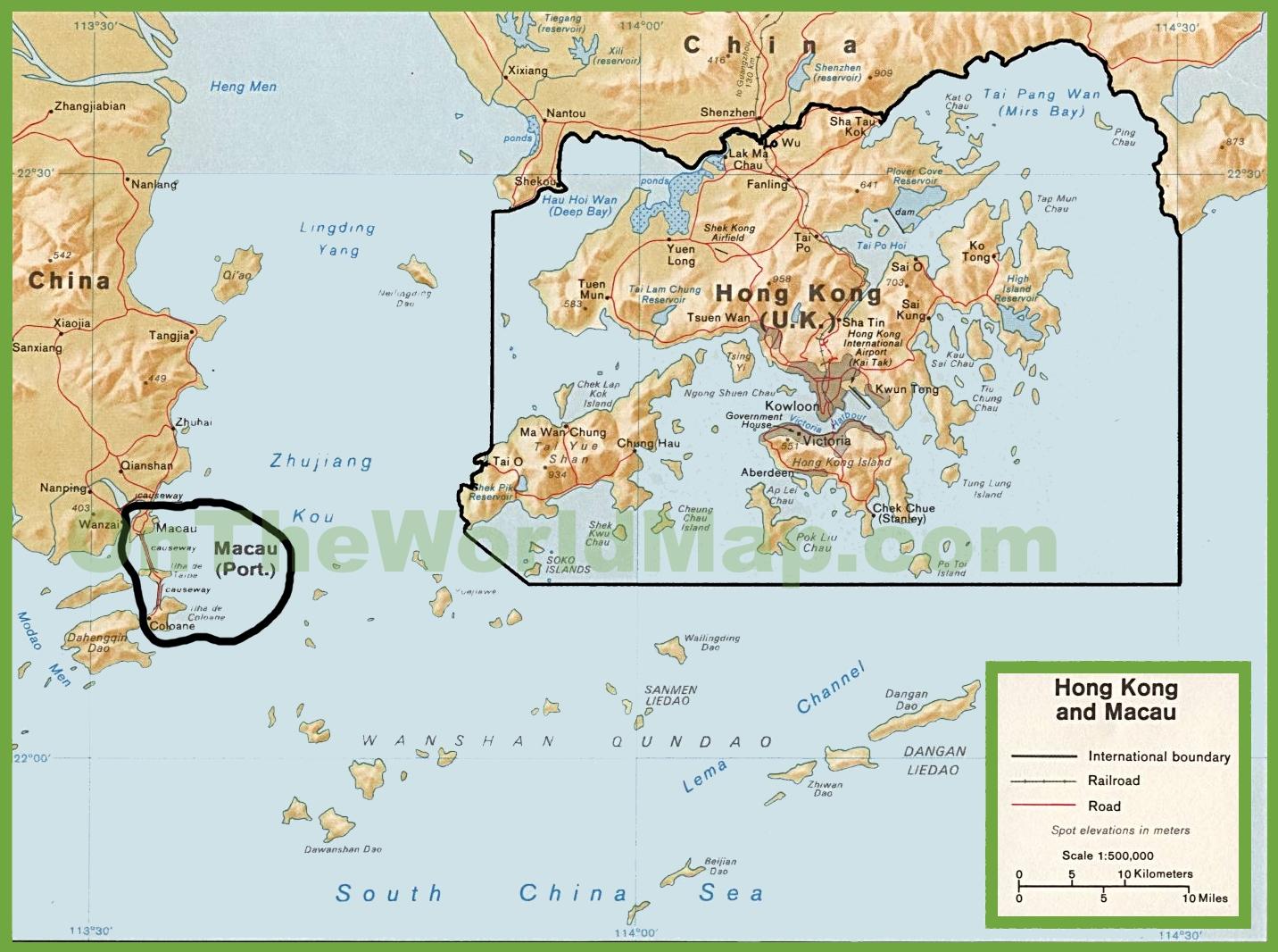 Macau On World Map.Macau Political Map