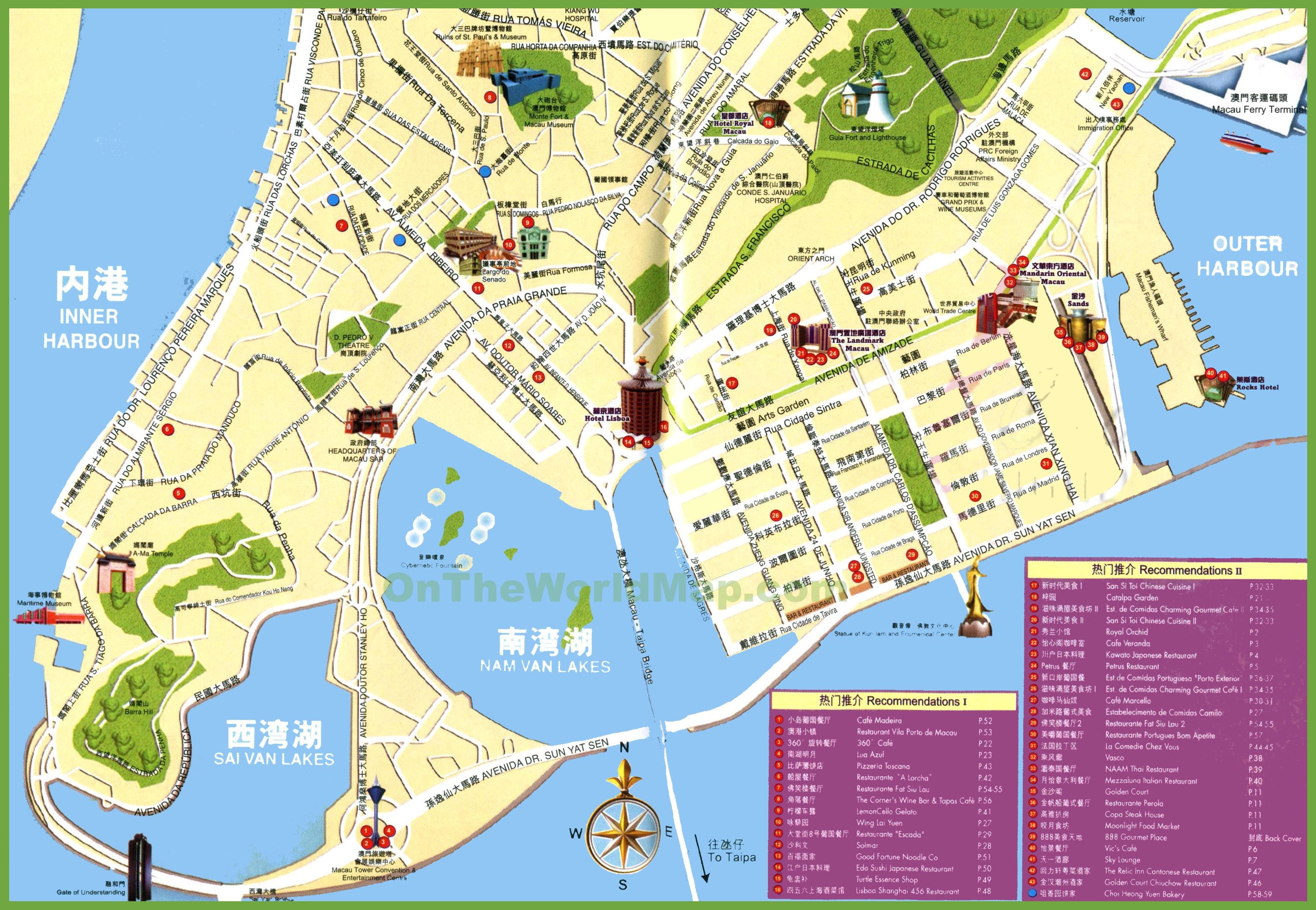 Map Of Macau Macau tourist map Map Of Macau