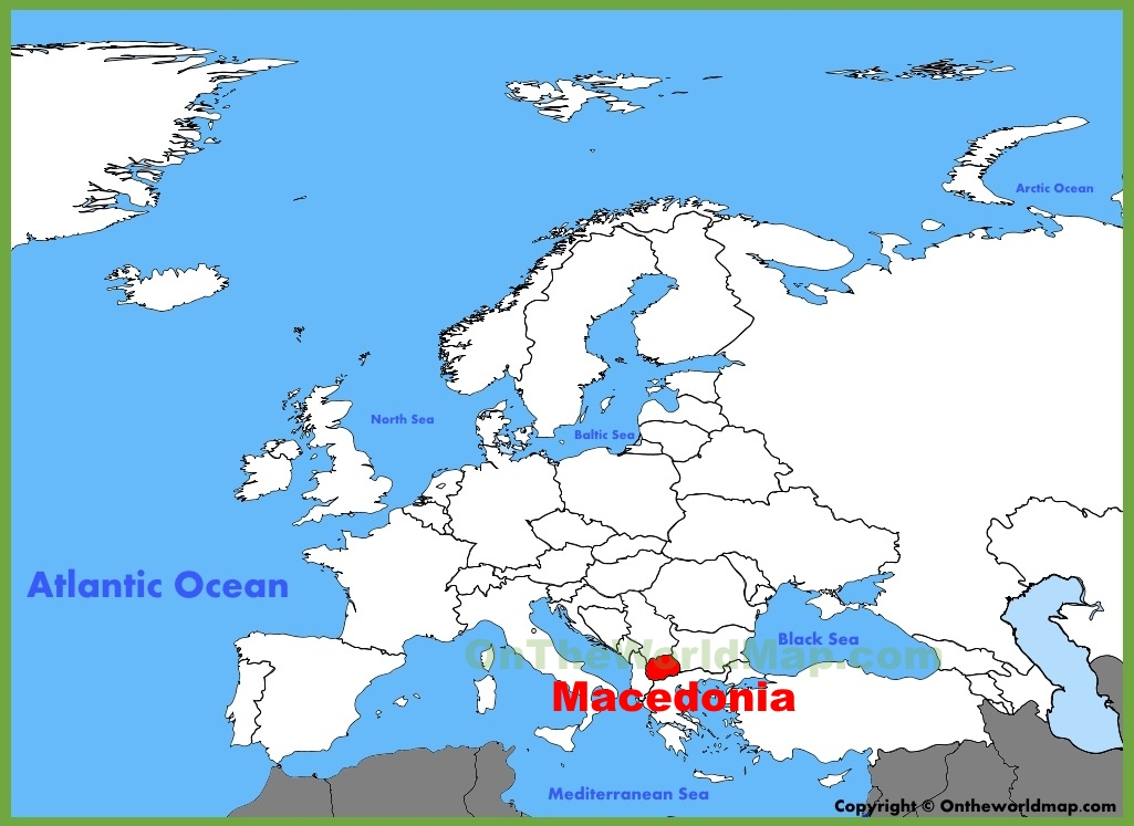 Macedonia location on the Europe map