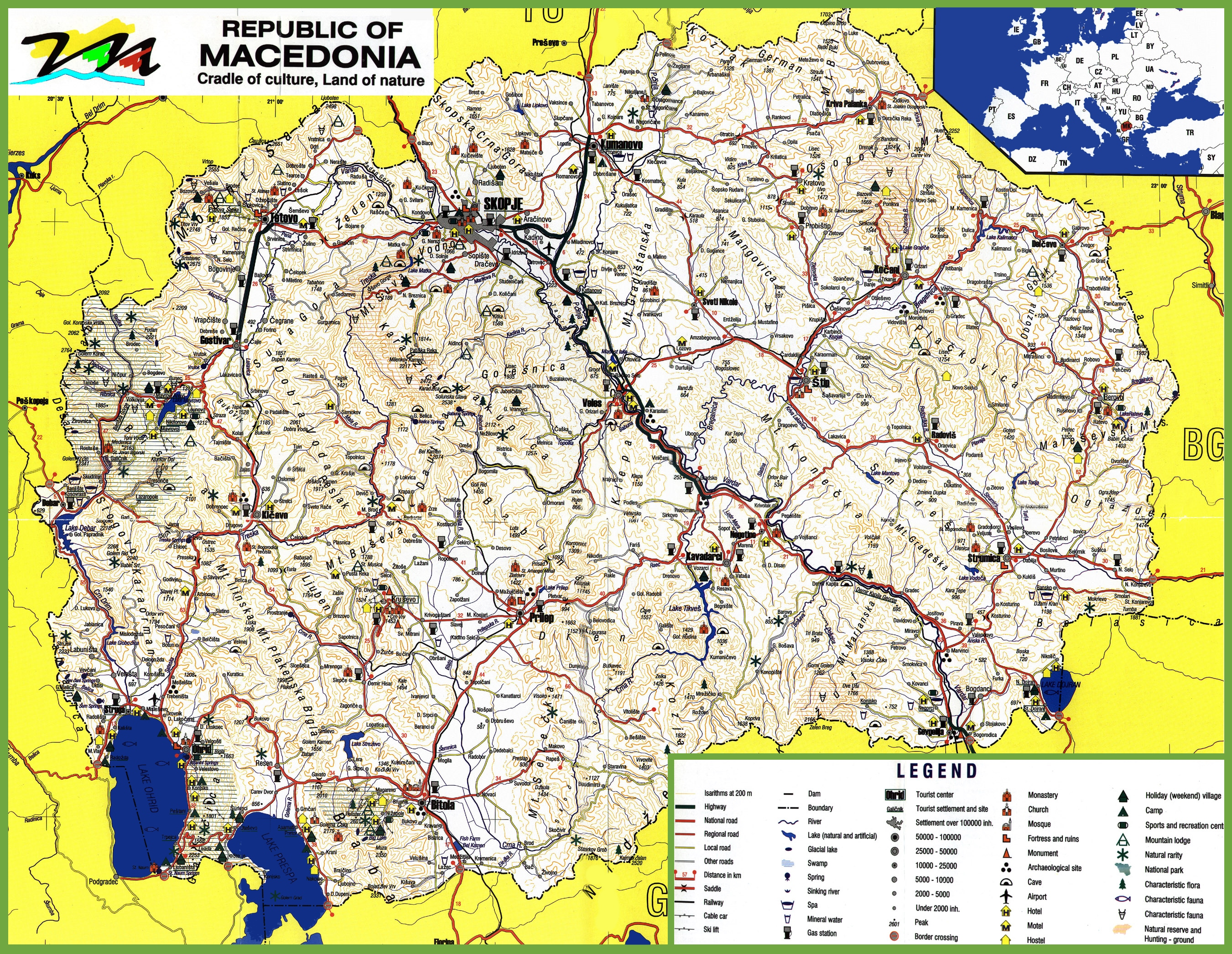 Macedonia Tourist Map