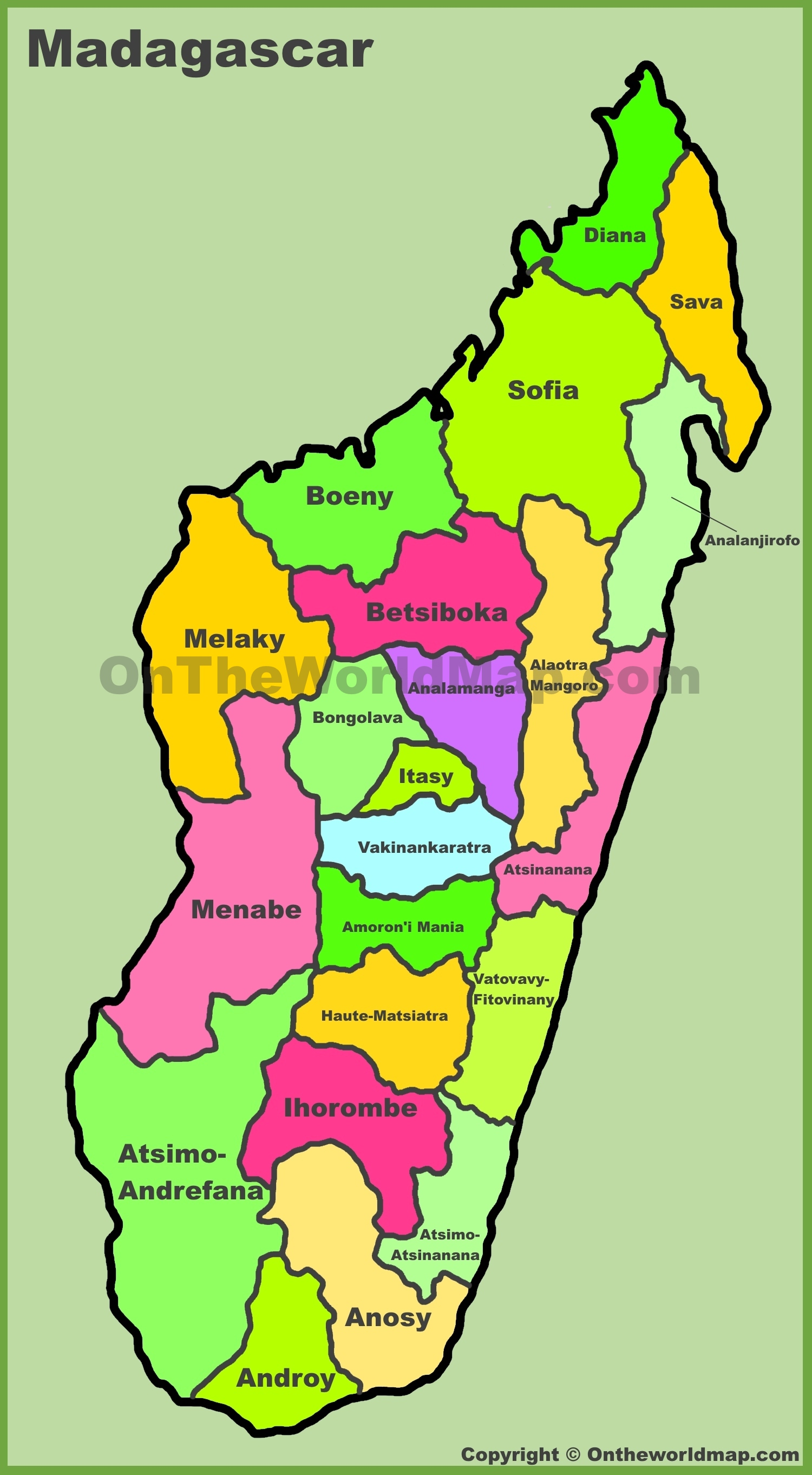 Map Of Madagascar Administrative divisions map of Madagascar Map Of Madagascar