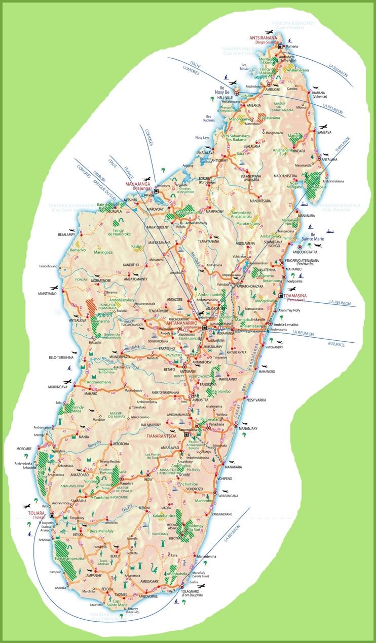 Large detailed travel map of Madagascar