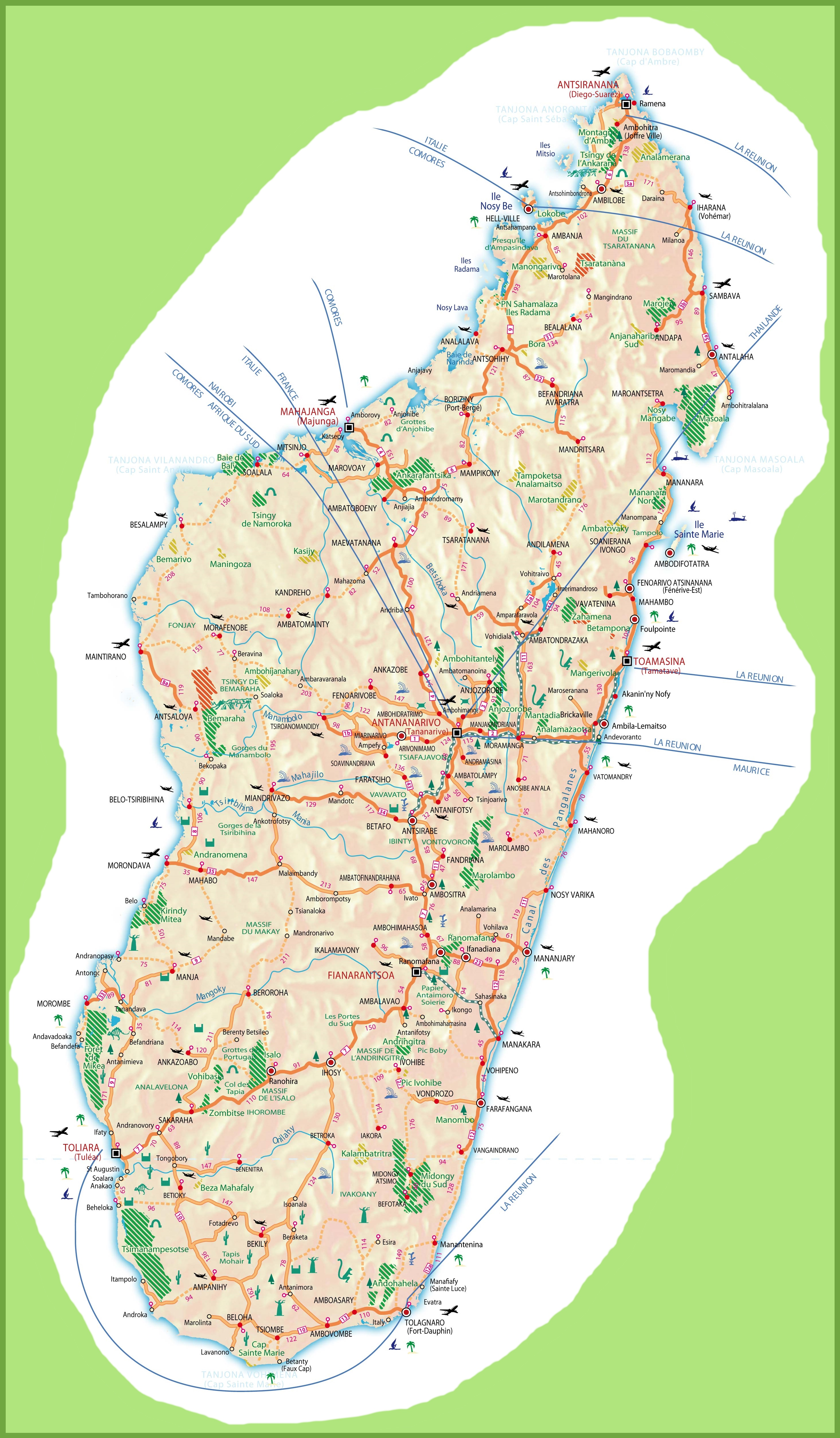 Large detailed travel map of Madagascar