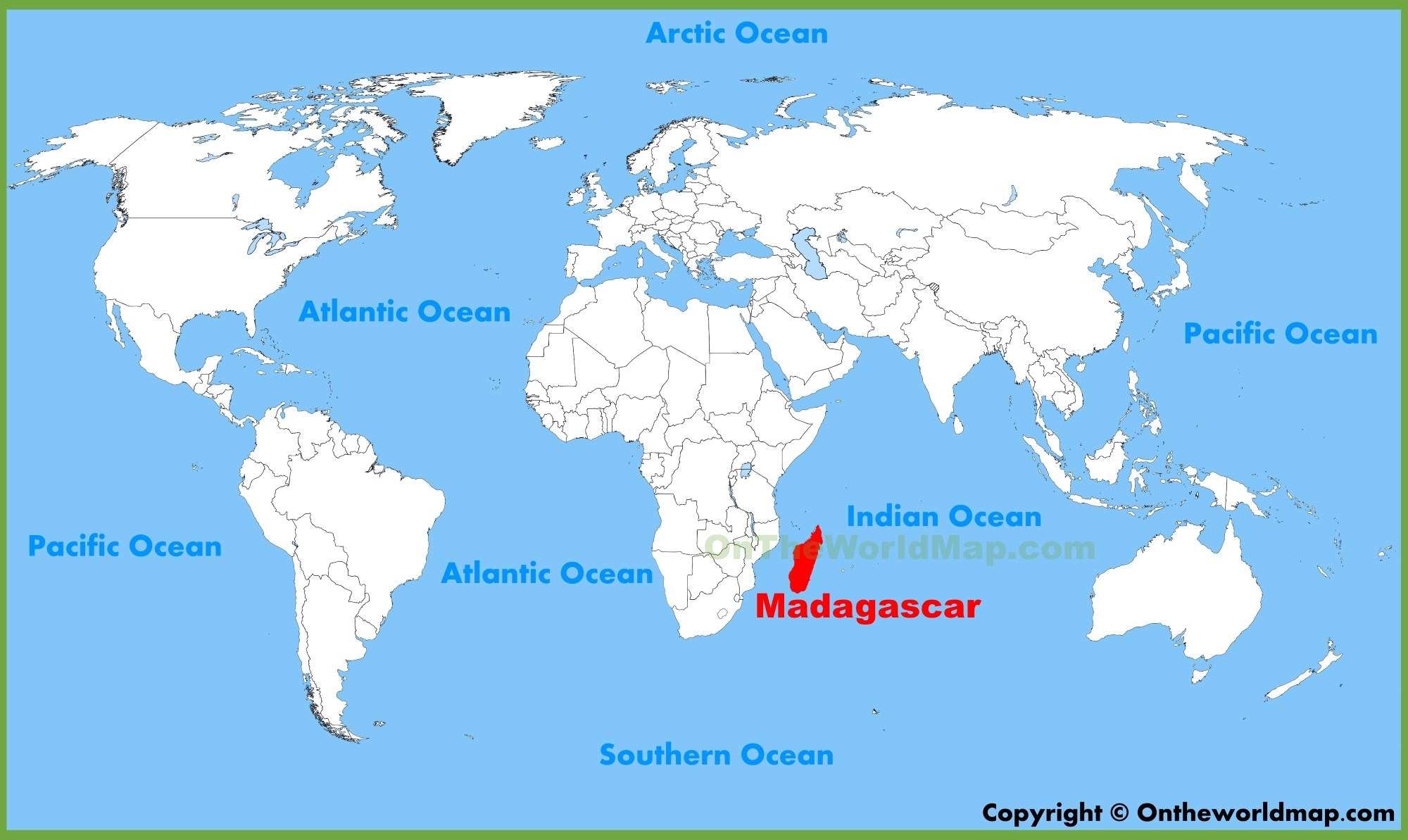 Madagascar location on the World Map