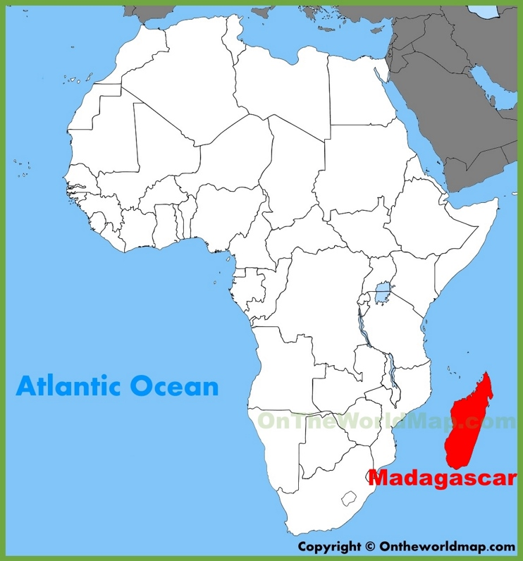 Madagascar location on the Africa map