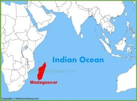 Madagascar location on the Indian Ocean map