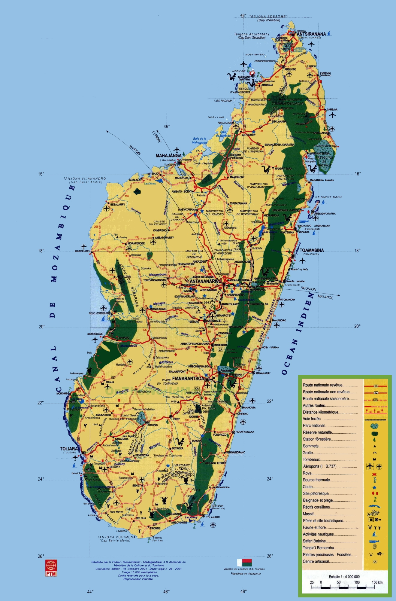 Madagascar tourist map