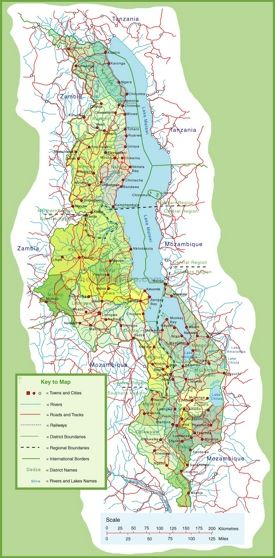 Large detailed map of Malawi