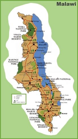 Malawi tourist map