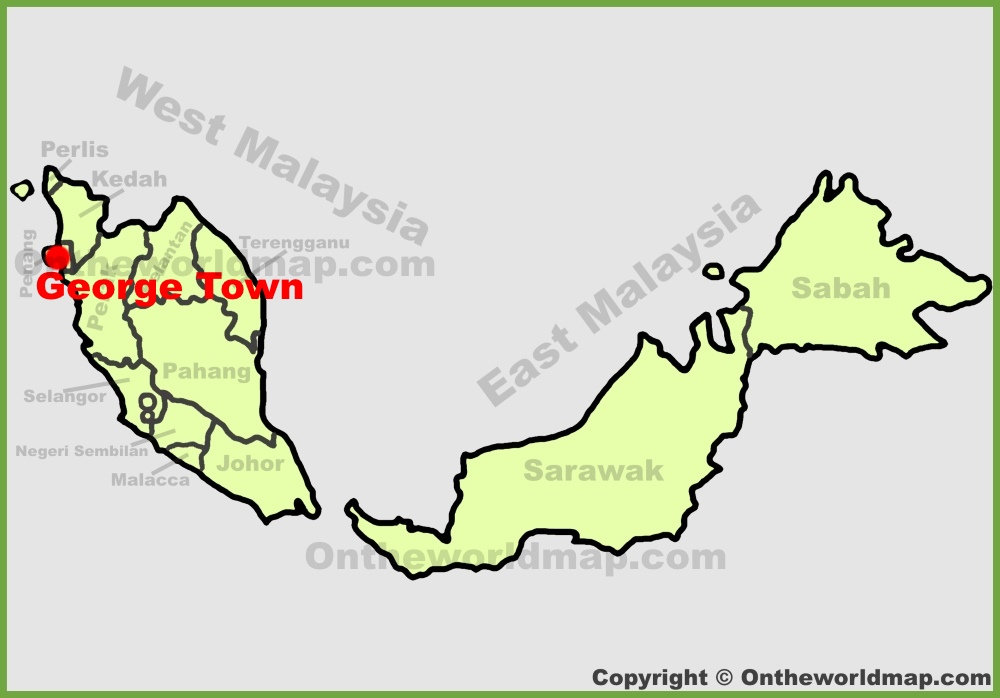 George Town location on the Malaysia map