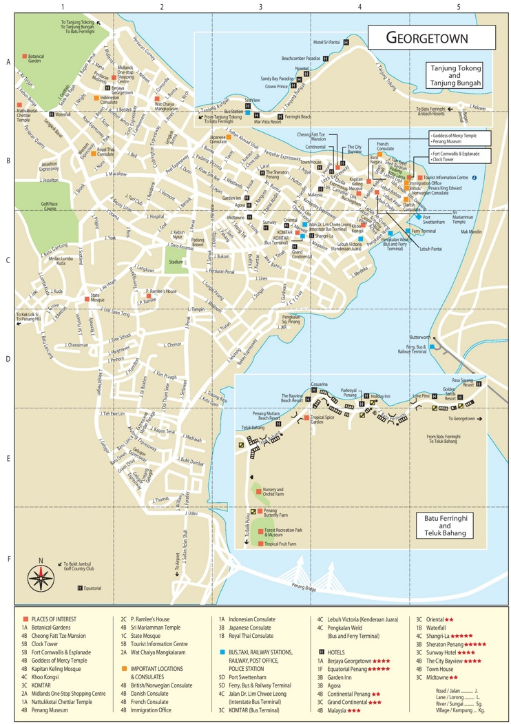 George Town Tourist Attractions Map