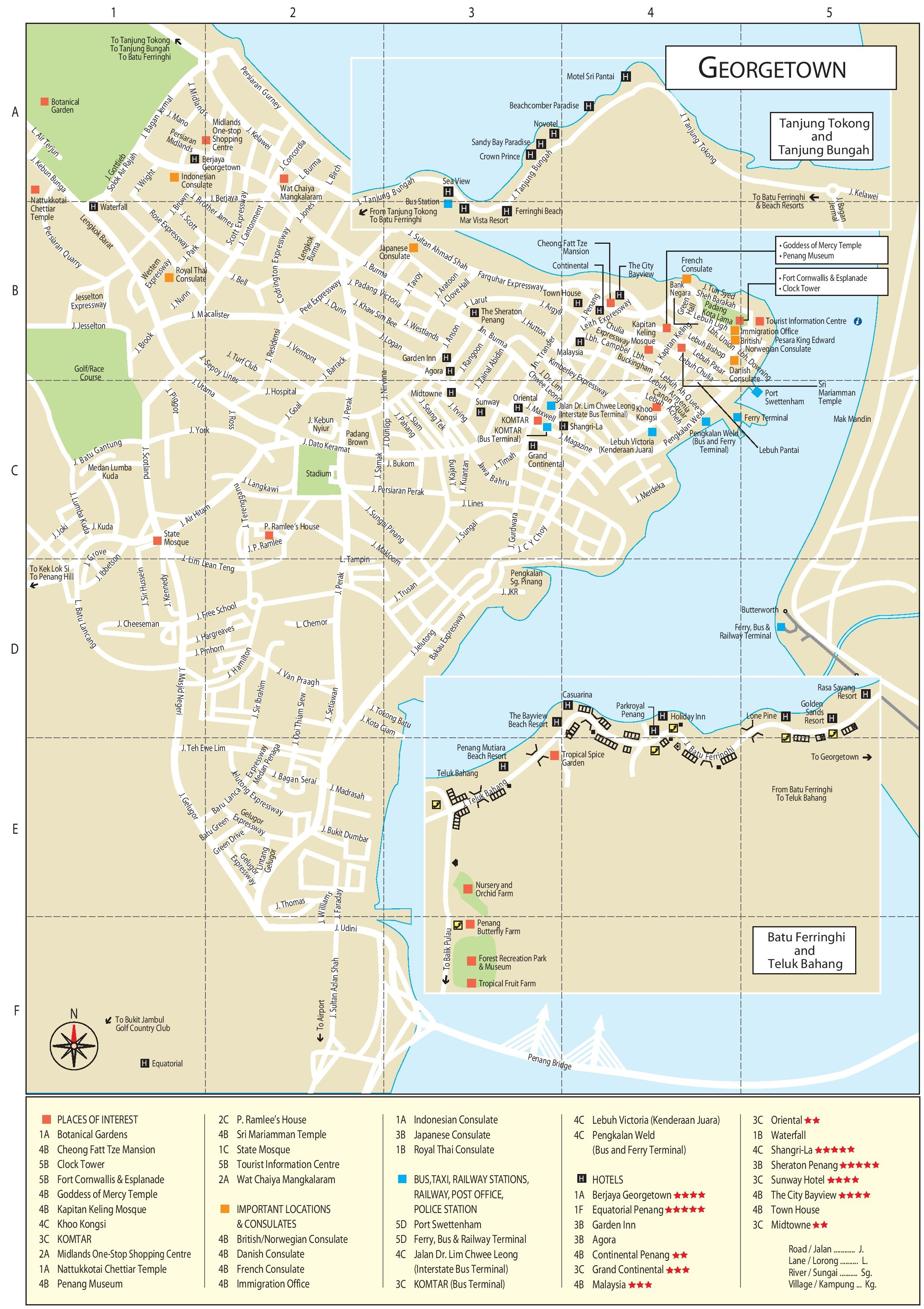 george town tourist attractions map -