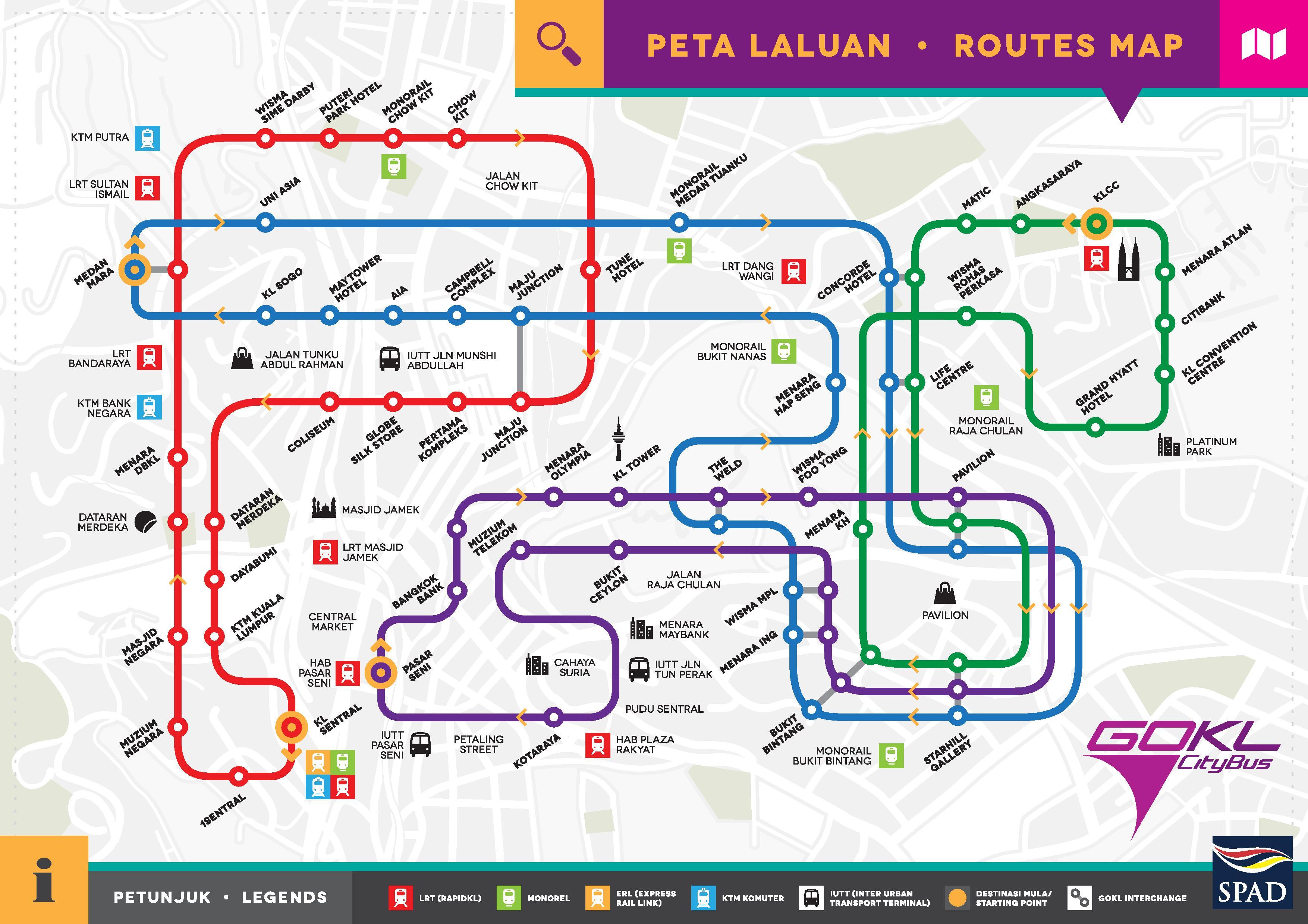 Kuala Lumpur Peta Laluan GOKL City Bus map