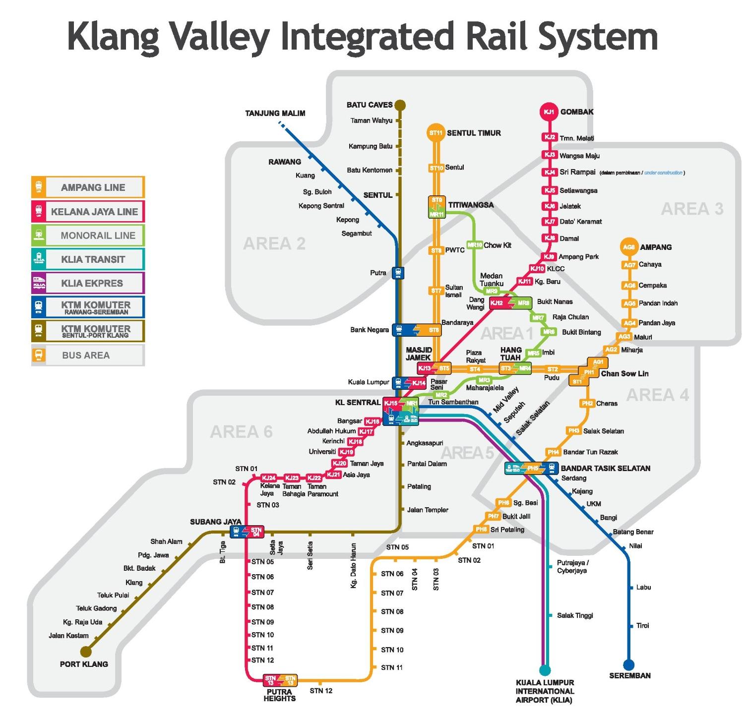 Kuala Lumpur Rail Map - kuala lumpur map