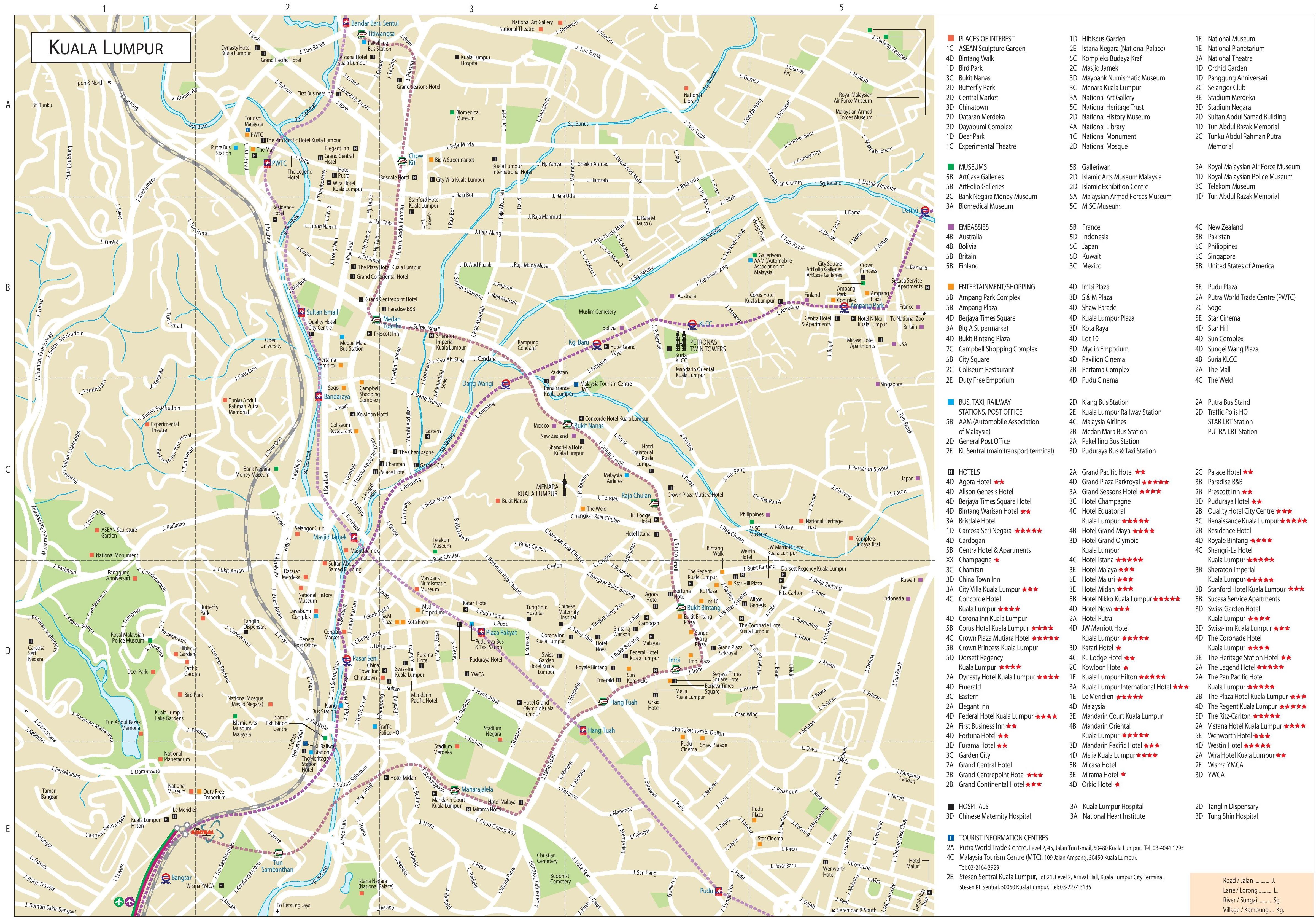 Kuala Lumpur Tourist Attractions Map - kuala lumpur map
