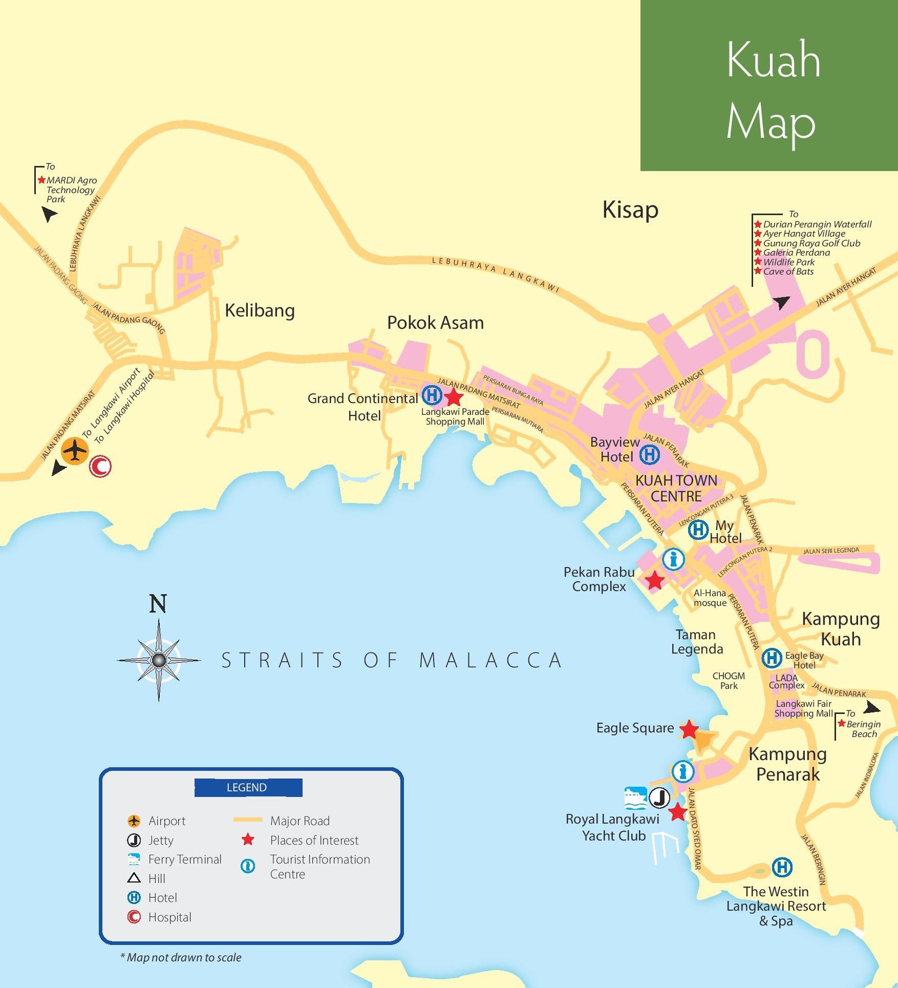 Langkawi Malaysia: Kuah Tourist Map
