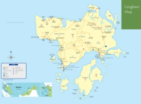 Langkawi hotels and sightseeings map