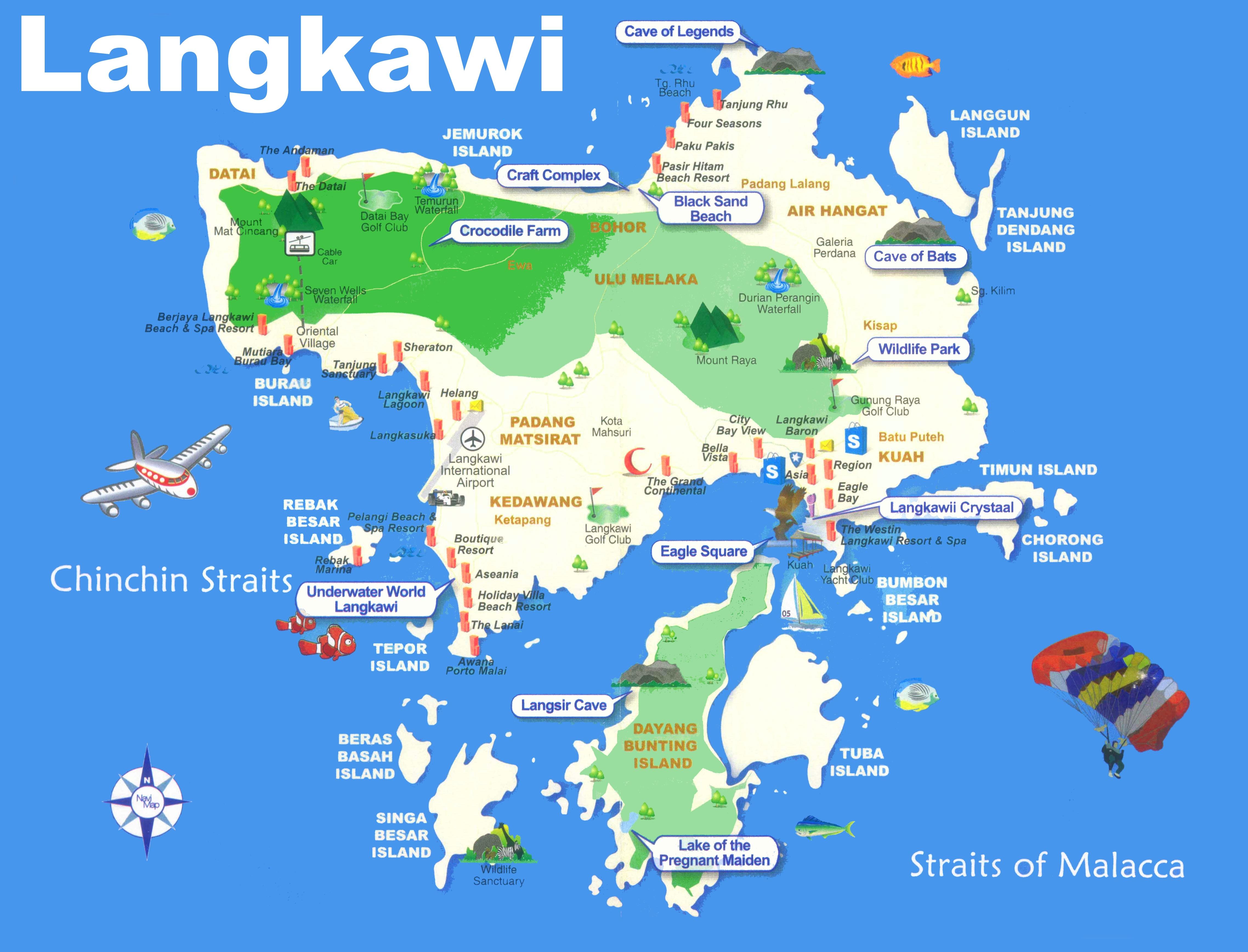Map Of Malaysia And Langkawi Langkawi tourist map