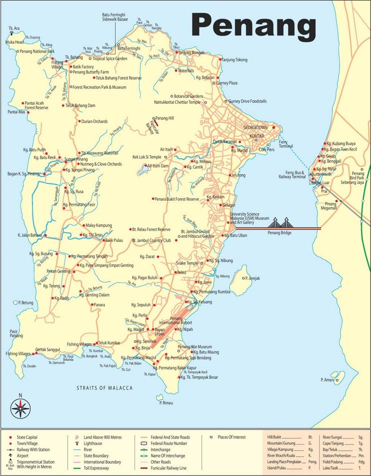 Large detailed map of Penang
