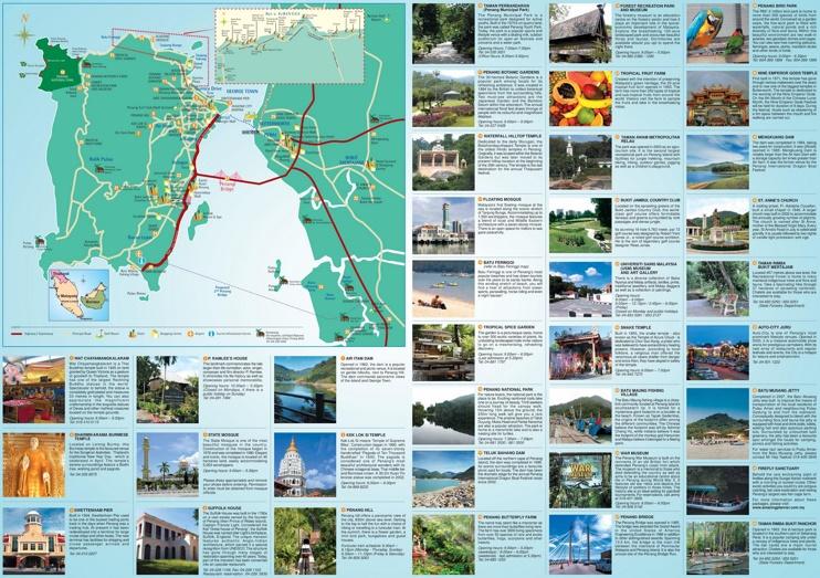Penang hotels and sightseeings map