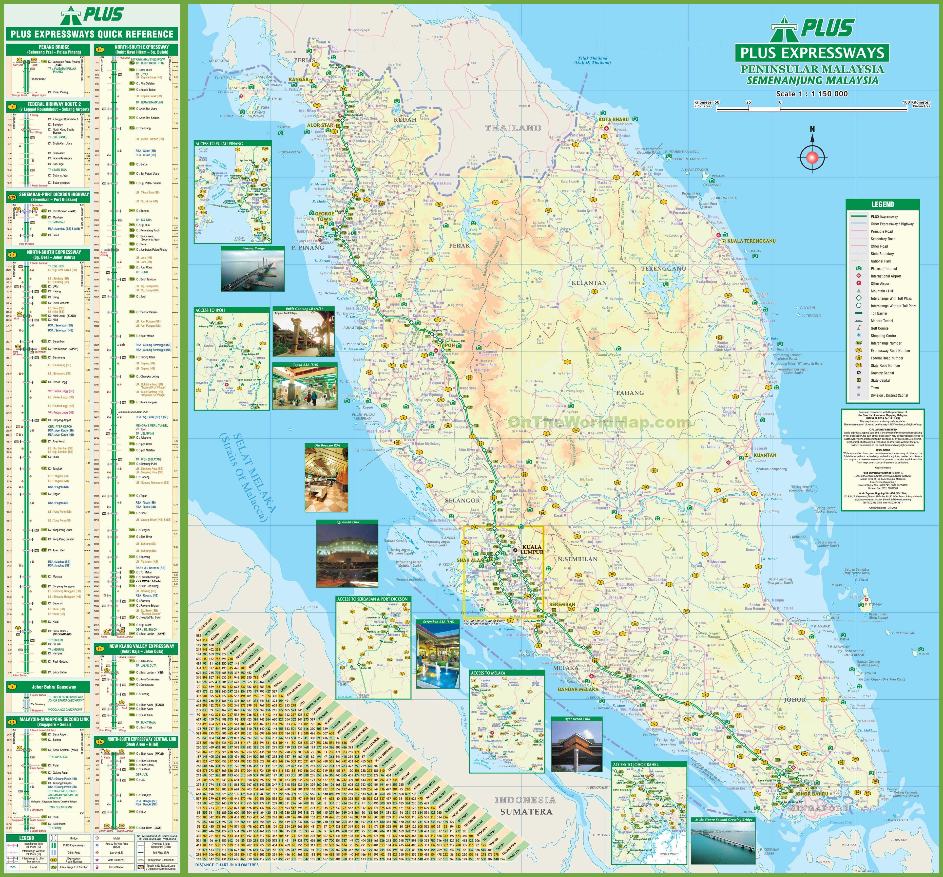 Malaysia road map – Malaysia Tourist Attractions Map