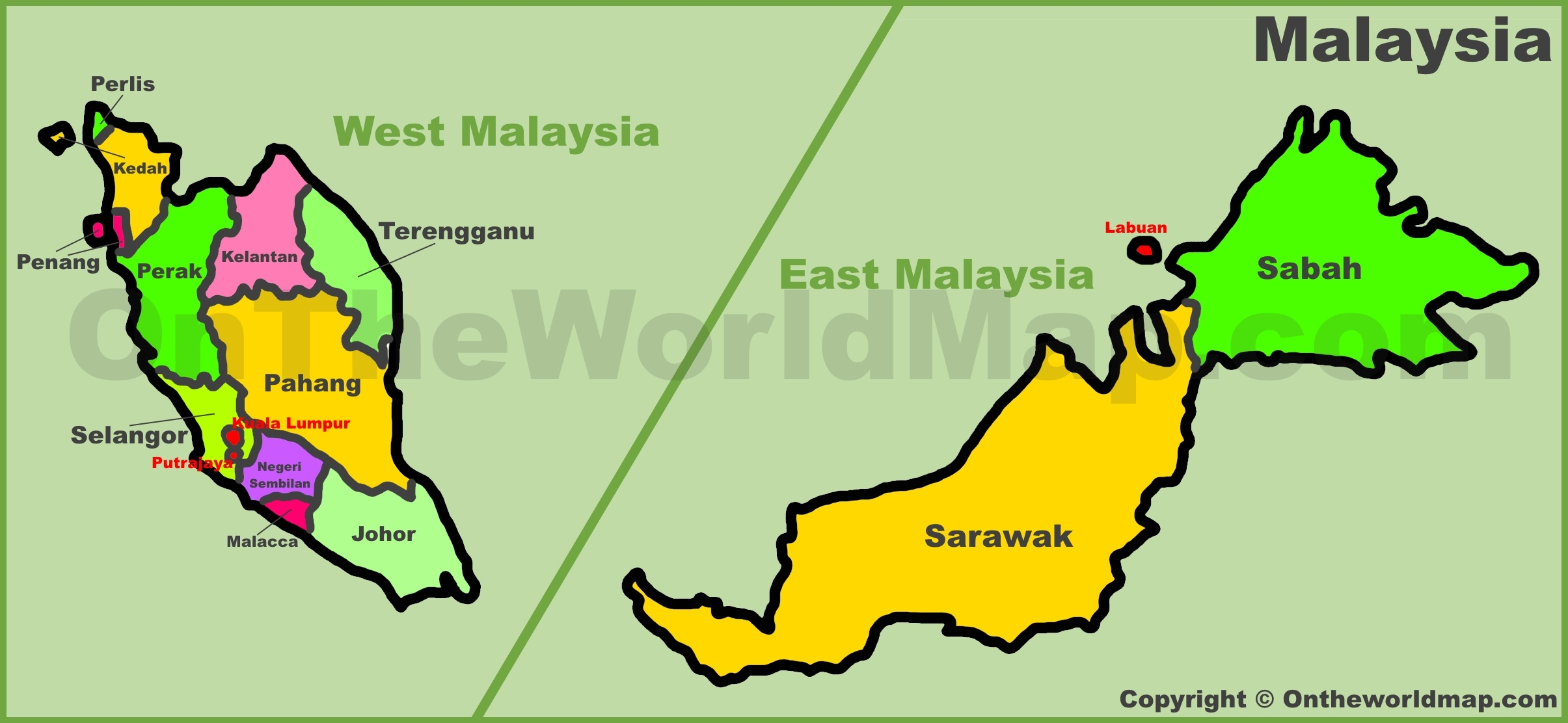 Map Of Malaysia Malaysia states map Map Of Malaysia