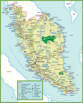 Travel map of Malaysia