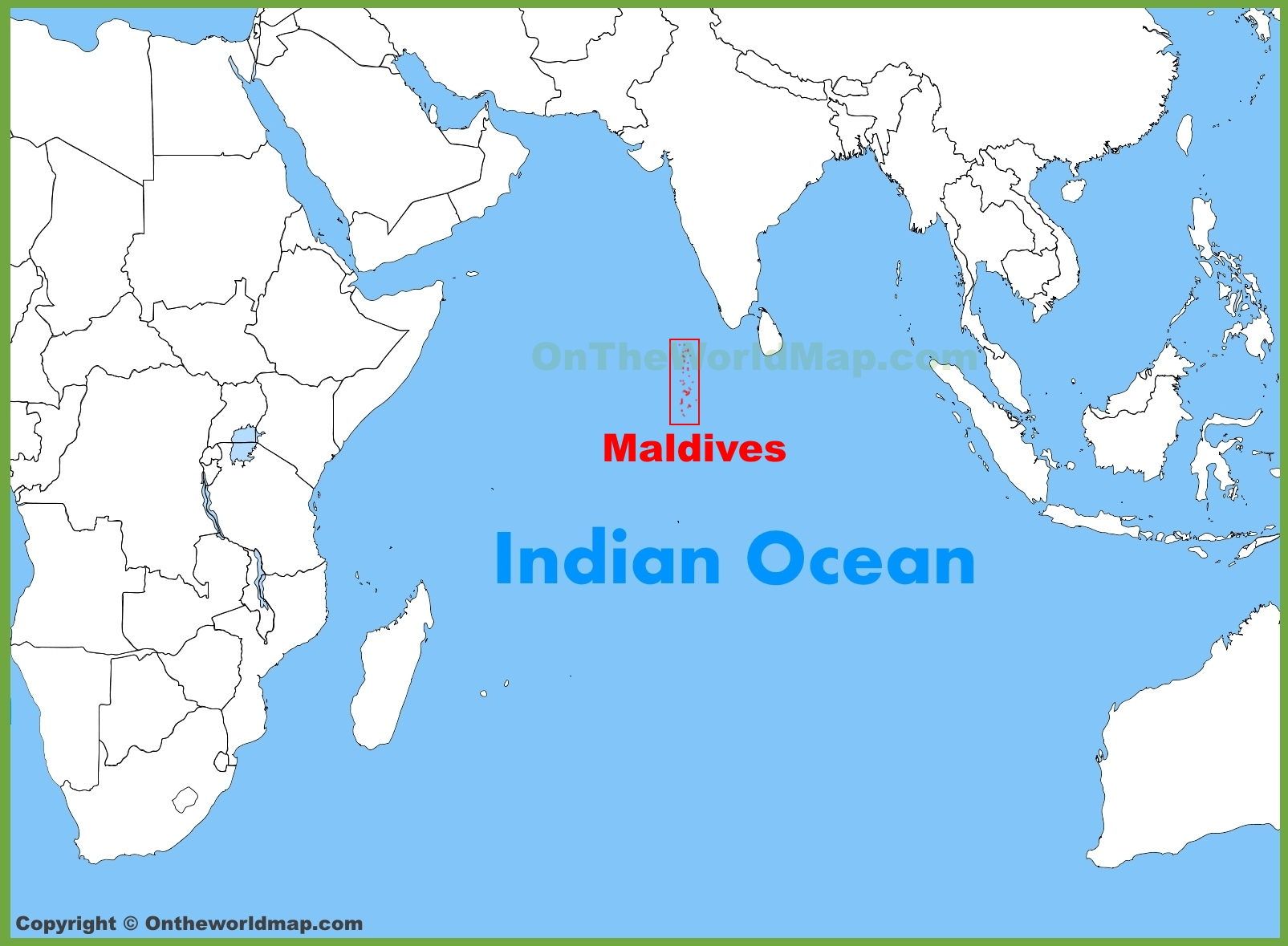 Maldives location on the Indian Ocean map