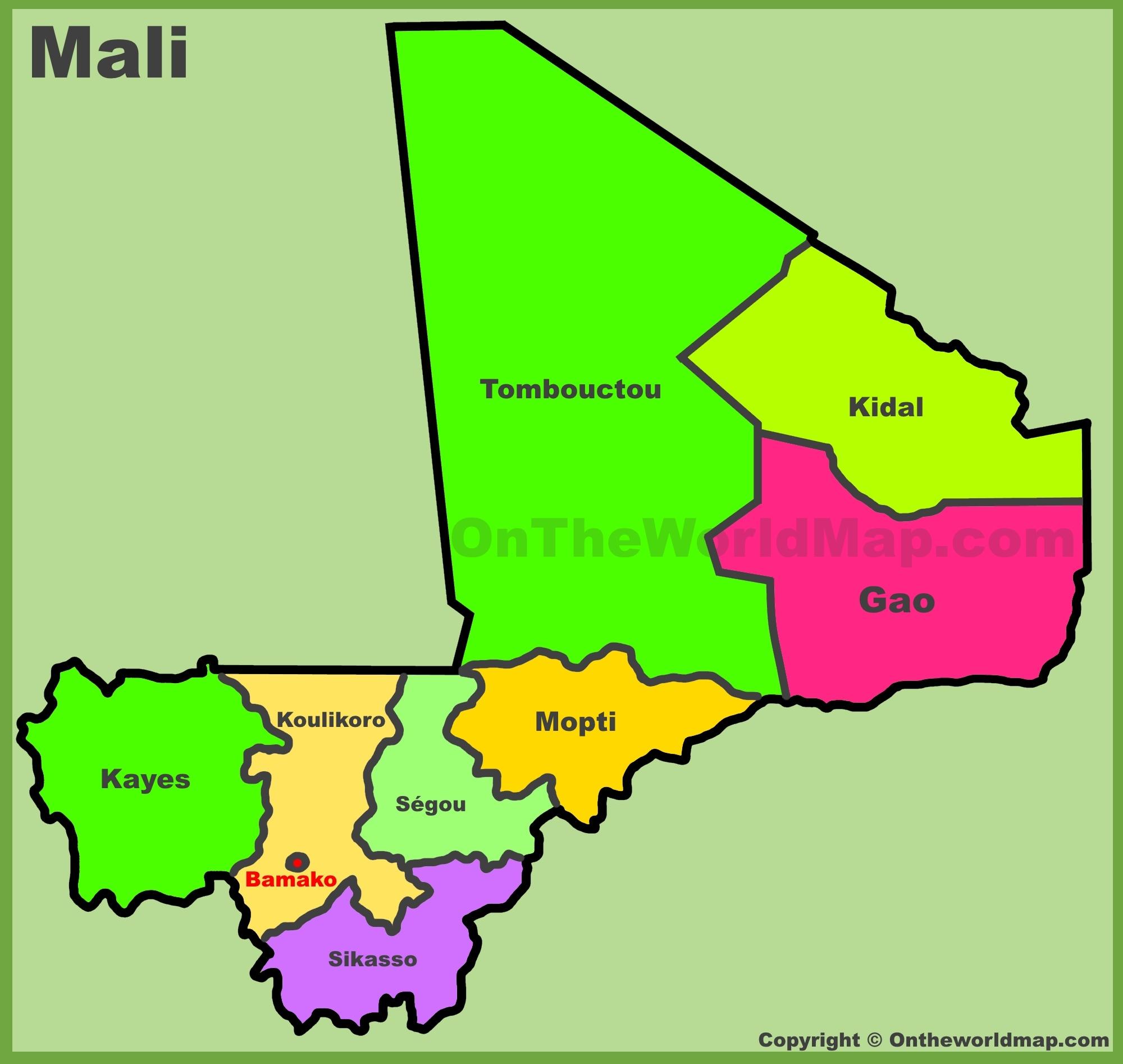 Map Of Mali Administrative divisions map of Mali Map Of Mali