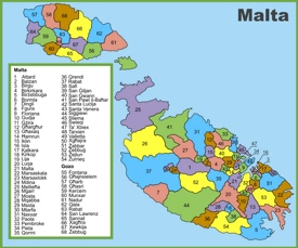 Administrative divisions map of Malta
