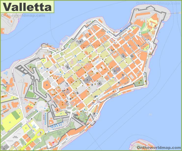 Detailed Map of Valletta