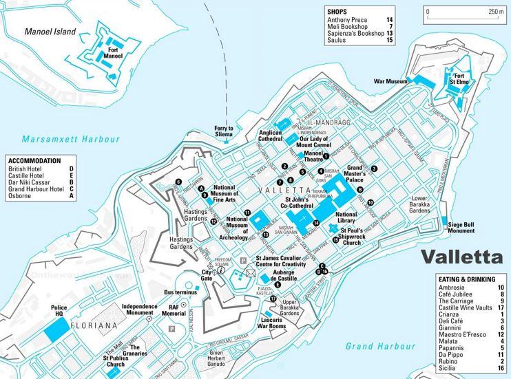 Valletta Sightseeing Map