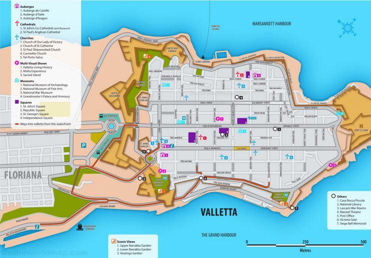 Valletta Tourist Attractions Map