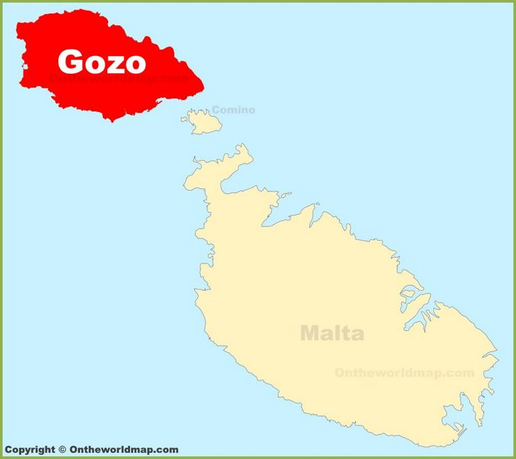 Gozo location on the Malta map