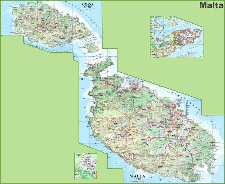 Large detailed map of Malta