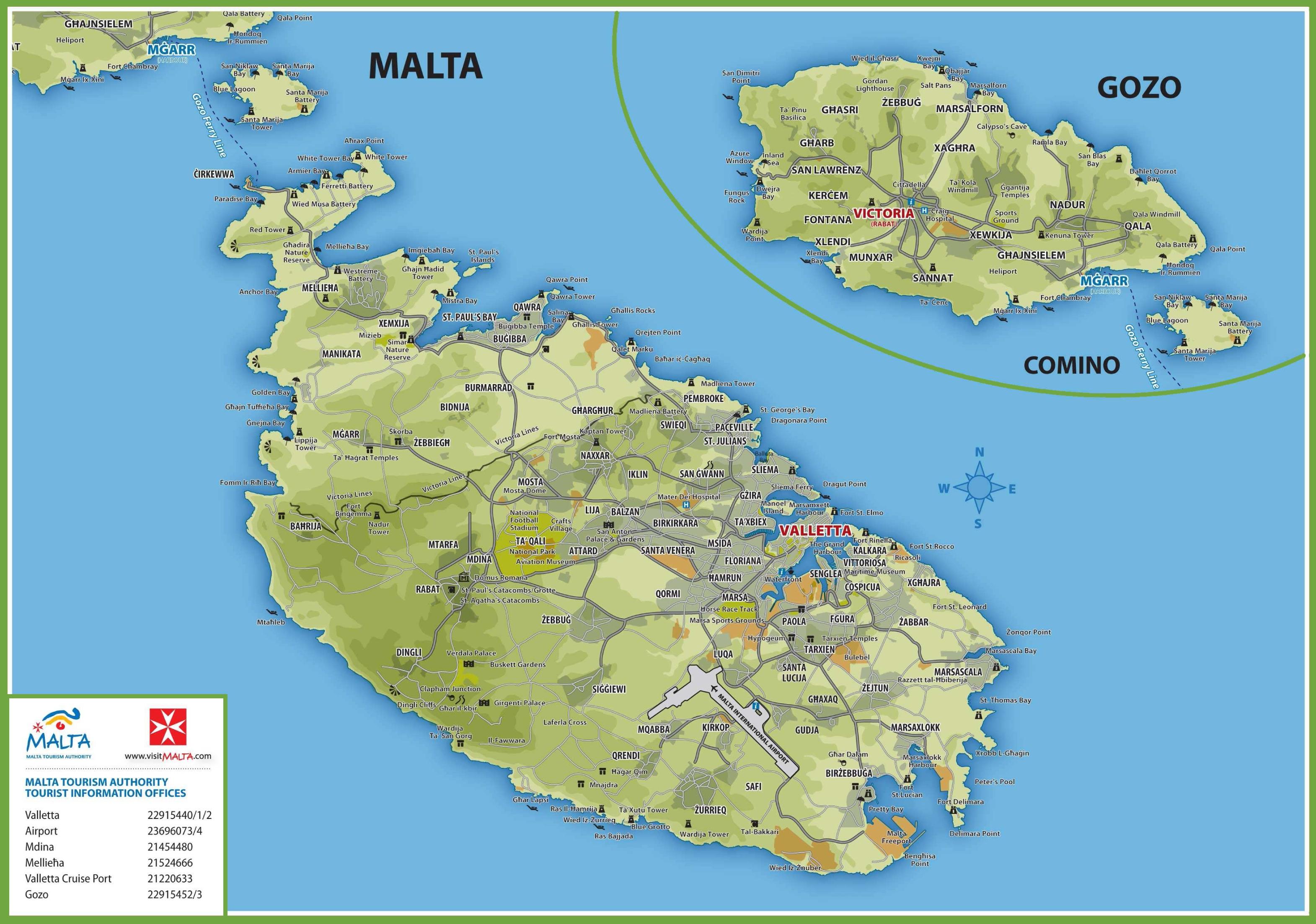 Map Of Malta Malta road map Map Of Malta