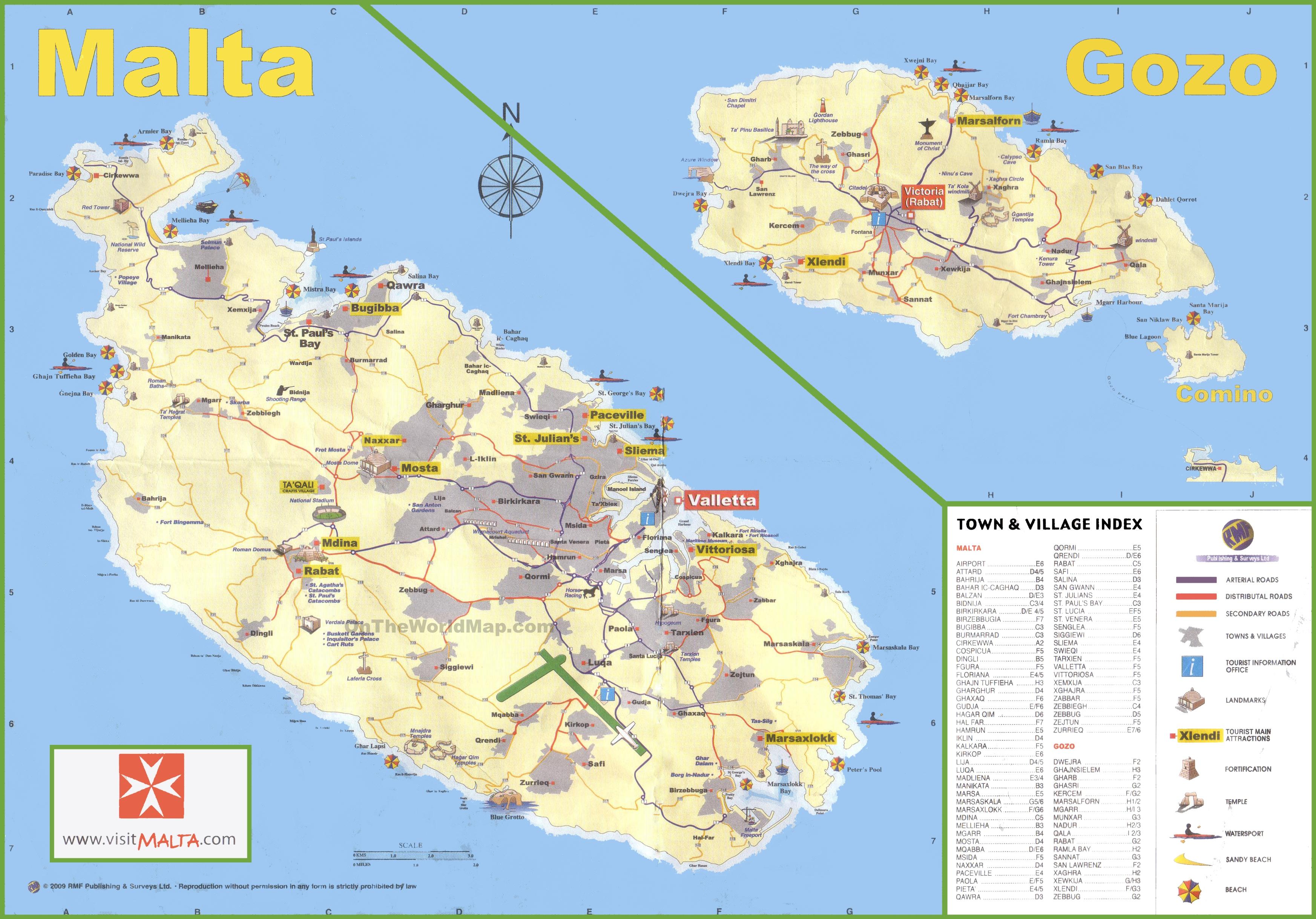 Map Of Malta Travel map of Malta Map Of Malta